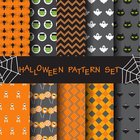 10 patrones diferentes de vectores de halloween. Textura sin fin se puede utilizar para el papel pintado, patrones de relleno, página web, fondo, cara sur Foto de archivo - 42294061
