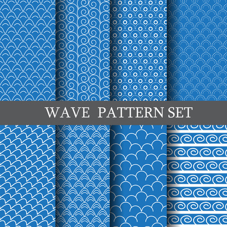 classic wave vector seamless patterns set. Endless texture can be used for wallpaper, pattern fills, web page background,surface texture