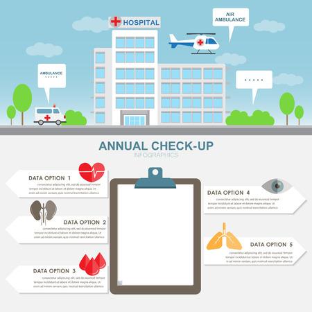 病院のインフォ グラフィック要素と背景の建物します。救急車と空気。レポート データ、バナー、ステップのオプション、web デザイン、パンフレ  イラスト・ベクター素材