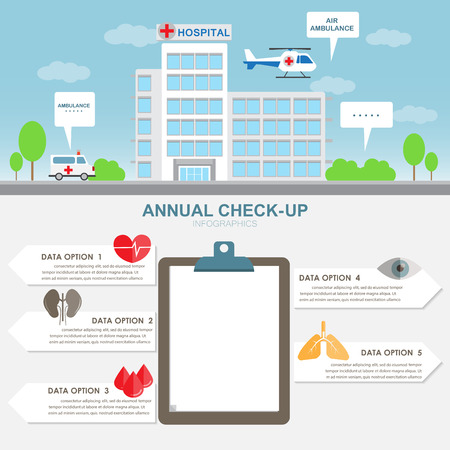 medical check: hospital building infographic elements and background. ambulance car and air. Can be used for medical check up report data, banner, step options, web design, brochure template.  vector illustration.