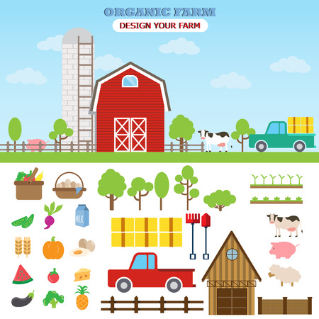 abstract animal: farm countryside infographic elements, flat city design. Can be used for agriculture business background, statistic , data, web design, info chart, brochure template. vector illustration