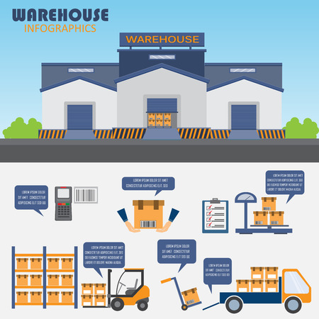 carretillas almacen: almacén, carga, gestión empresarial logística infografía antecedentes y elementos. Puede ser utilizado para los datos de negocio, diseño de páginas web, plantilla de folleto. ilustración vectorial Vectores