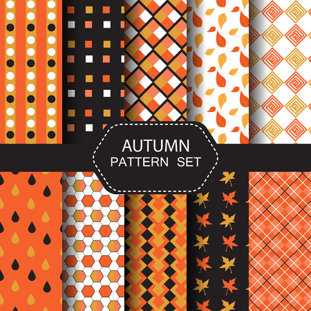 retro patterns: 10 different autumn  patterns. nature and retro concept, Endless texture can be used for wallpaper, pattern fills, web page background,surface textures.