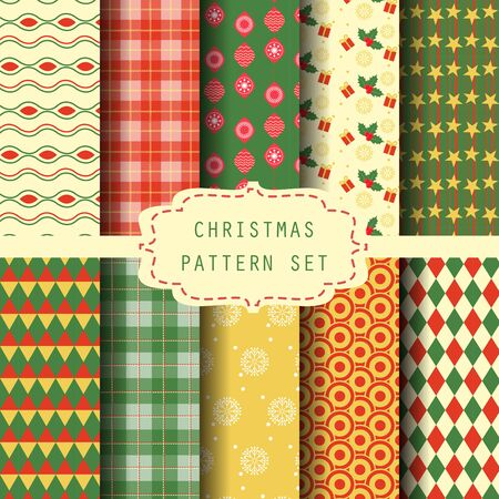 scot: 10 different  patterns. christmas and new year celebetrion concept, Endless texture can be used for wallpaper, pattern fills, web page,background,surface Illustration