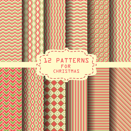 festive pattern: 12 different  patterns. for christmas , new year or celebration,  Endless texture can be used for wallpaper, pattern fills, web page background,surface textures.