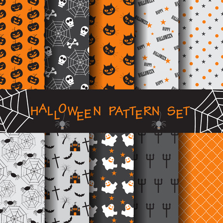 10 different halloween vector patterns. Endless texture can be used for wallpaper, pattern fills, web page,background,surface Çizim