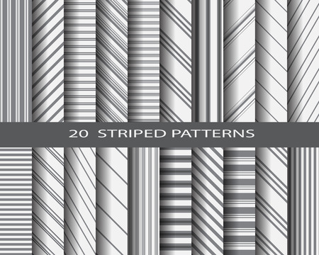 surfaces: 20 monochome striped patterns, Pattern Swatches, vector, Endless texture can be used for wallpaper, pattern fills, web page,background,surface Illustration