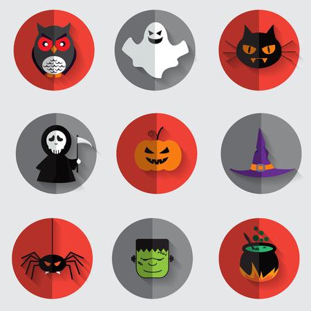 jack pot: halloween flat icon set, vector Illustration