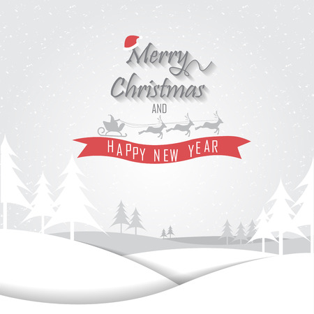 snow tree: christmas greeting card, vector, can be use for  background, backdrop, wallpaper