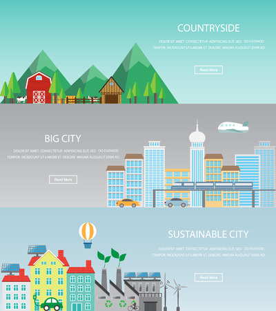 environmental pollution: cityscape web page banner, infographic elements. there are urban, countryside and sustainable city template. Can be used for background, layout, diagram, web design, brochure. Vector  illustration