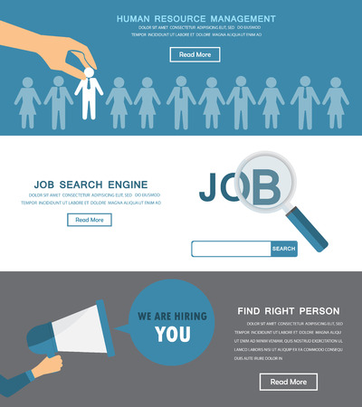 job search: Human resource, HR infographics element and background. Recruitment process. Can be used for one page website, business data, web page design, cover page, brochure template. Vector illustration Illustration