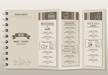 Restaurant menu, infographics background and elements vintage and hipster design. Can be used for  layout, banner, web design, brochure template. Vector illustration