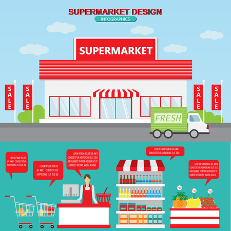 grocery shelves: Supermarket business management infographics background and elements. Exterior and interior design. Can be used for business data, web design, brochure template. Vector illustration