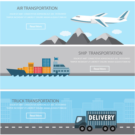 Shipment and cargo infographics elements. There are air, ship, and truck transportation. Can be used for logistic business data, web page design, brochure template, advertising background.  Illustration