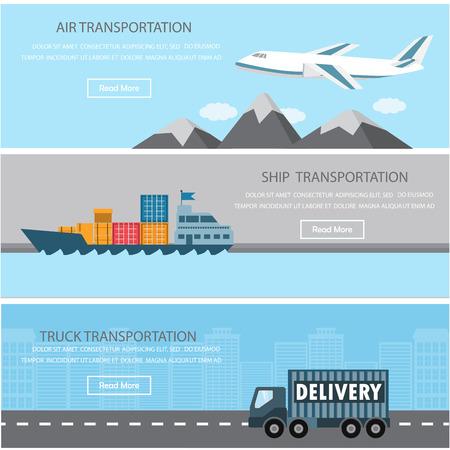 Verzending en vracht infographics elementen. Er zijn lucht, schip en vrachtwagen vervoer. Kan gebruikt worden voor logistieke zakelijke gegevens, webpagina ontwerp, brochure sjabloon, reclame achtergrond.