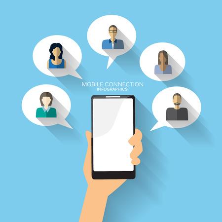 모바일 연결 인포 그래픽 요소 및 배경. 소셜 미디어 아이콘입니다. 비즈니스 데이터, 웹 디자인, 브로셔 템플릿, 광고에 사용할 수 있습니다. 텍스트를 일러스트