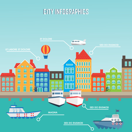 river vector: City infographics background and elements, there are village, river, building, road, transportation, can be used for statistic , business data, web design, brochure template. Vector illustration