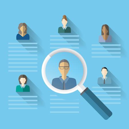 Recursos humanos o gestión hr elemento de infografía y el fondo. Proceso de contratación. Puede ser utilizado para la estadística, los datos de negocio, diseño de páginas web, información gráfica, plantilla de folleto. Ilustración vectorial