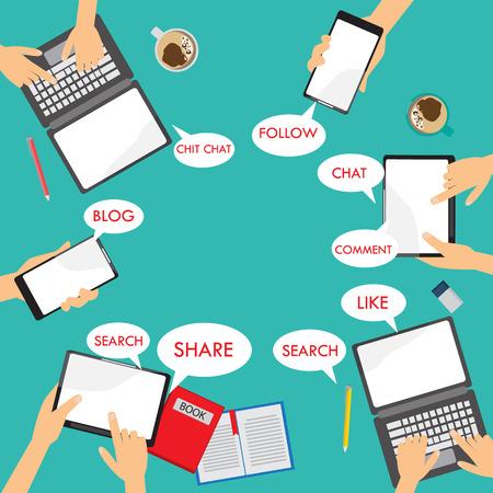 모바일 연결 infographics입니다 요소 및 배경. 소셜 미디어 네트워크 개념. 비즈니스 데이터, 웹 디자인, 브로셔 템플릿, 광고에 사용할 수 있습니다. 텍스