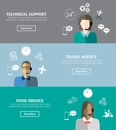 call center office: Technical support banners set assistant mans and woman with icons flat design. Can be used for one page website, business data, web page design, cover page, brochure template. Vector illustration
