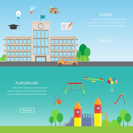 playground children: Parque infantil y escolar. Elemento de Infographics y el fondo de la bandera. Kid y los ni�os concepto. Puede ser utilizado para una p�gina Web dise�o, plantilla de folleto, banner. Ilustraci�n vectorial