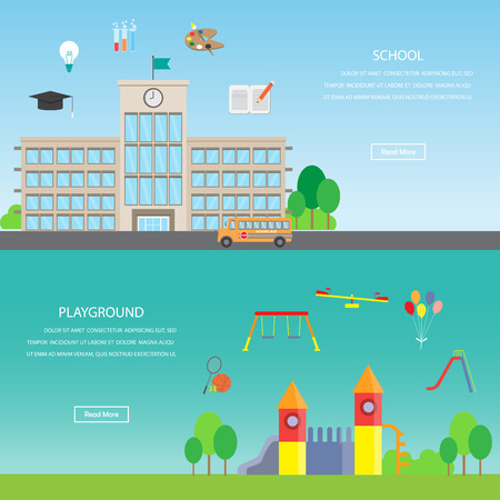 school playground: Playground and school. Infographics element and banner background. Kid and children concept. Can be used for one web page design, brochure template, banner. Vector illustration Illustration
