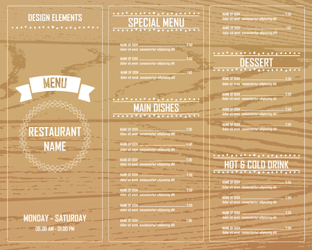 cafe menu: Restaurant, bistro and cafe menu, infographics background and elements wooden design. Can be used for layout, banner, web design, brochure template. Vector illustration