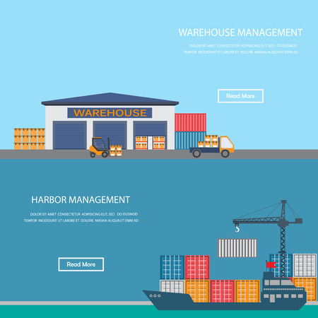 warehouse building: Harbor and warehouse cargo industrial concept. Infographics background and elements. Flat design for one page website, business banner, cover page, brochure layout template. Vector illustration