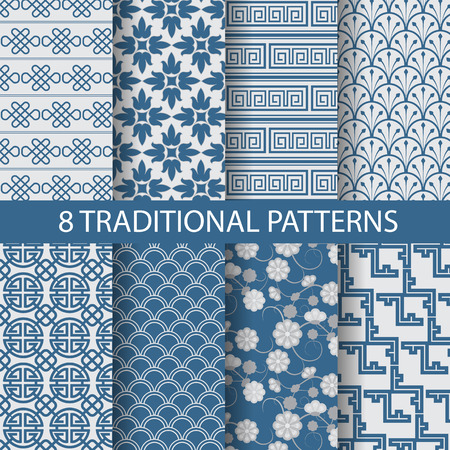 8 different chinese vector patterns. Endless texture can be used for wallpaper, pattern fills, web page background,surface textures. Vettoriali