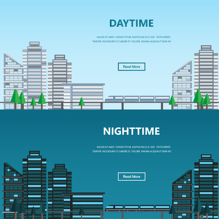 nightime: Cityscape daytime and nightime, infographics background and elements. Can be used for statistic, business data, one page web design, info chart, brochure template, banner. Vector illustration Illustration