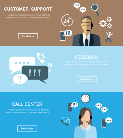 telephone operator: Business service banners set. There are customer support, call center and feedback assistant. Used for one page website, business data, web design, cover page, brochure template. Vector illustration Illustration