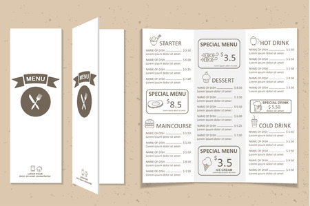 Restaurant, bistro and cafe menu, infographics background and elements simple design. Can be used for layout, banner, web design, brochure template. Vector illustration