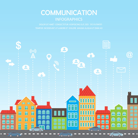 smart: Mobile connection in the city life infographics element and background. Social media icon. Can be used for business data, web design, brochure template, advertising. Vector illustration