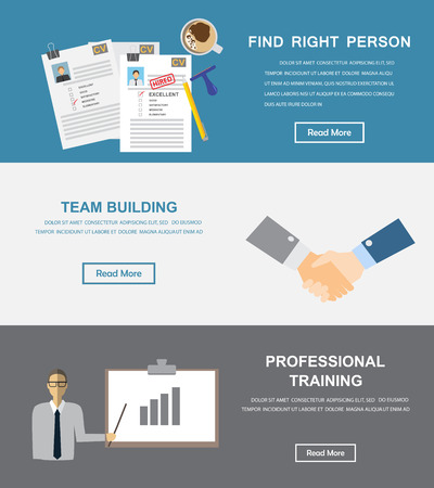 resource: Human resource, hr infographics element and background. Recruitment process. Can be used for one page website, business data, web page design, cover page, brochure template. Vector illustration Illustration