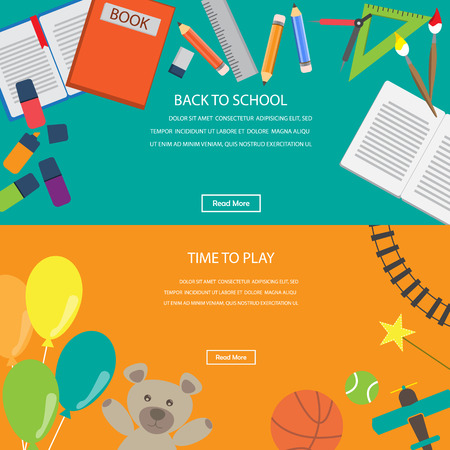 kid vector: Tiempo para jugar juguetes y de regreso a la escuela. Elemento de Infographics y el fondo de la bandera. Kid y los ni�os concepto. Puede ser utilizado para una p�gina Web dise�o, plantilla de folleto, ilustraci�n vectorial
