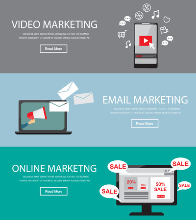 Online digital marketing infographics element and background, there are video, web site, email marketing. Used for cover one page website, business data, banner, brochure template. Vector illustration