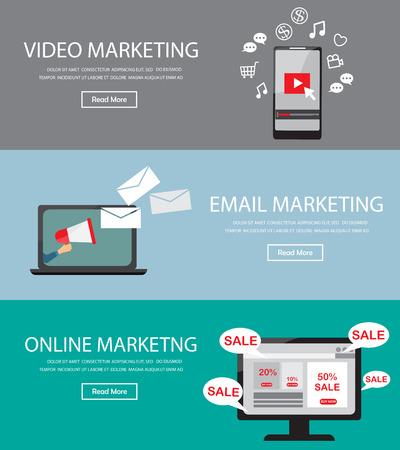 correo electronico: Elemento de infografía de marketing digital en línea y el fondo, hay vídeo, web, email marketing. Se utiliza para la cubierta de un sitio web la página, los datos de negocio, bandera, plantilla de folleto. Ilustración vectorial