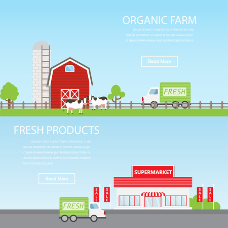 car garden: Farm countryside and supermarket banner. Infographic elements and background. Can be used for agriculture and retail business background, one page web design, info chart, brochure template. Vector illustration Illustration