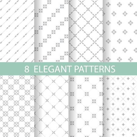 8 different classic blue and white patterns. Endless texture can be used for wallpaper, pattern fills, web page background,surface textures. Illustration