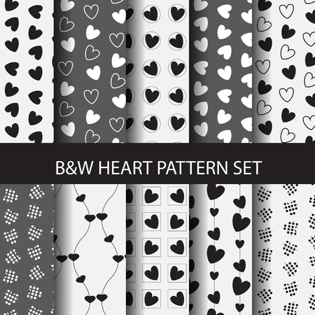 white heart: 8 different black and white heart vector patterns set. Endless texture can be used for wallpaper, pattern fills, web page background, surface texture