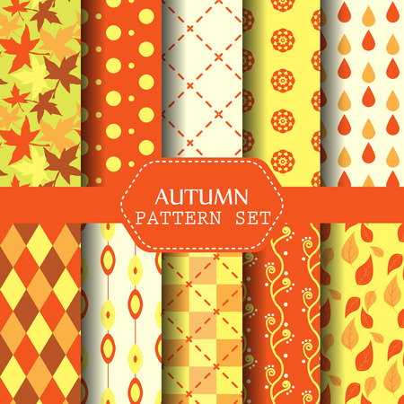 polka: Different autumn patterns. Nature and retro concept, endless texture can be used for wallpaper, pattern fills, web page background, surface textures. Illustration