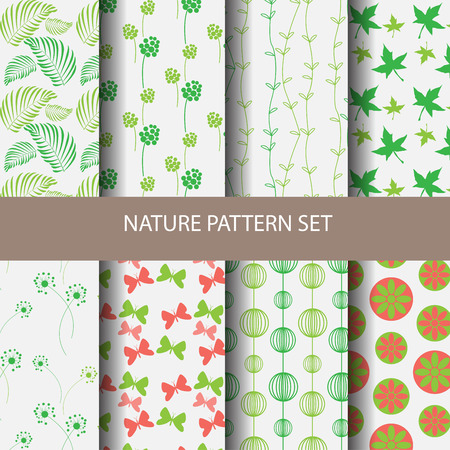 spring roll: Different vector patterns natural concept. Endless texture can be used for wallpaper, pattern fills, web page background,surface textures. Illustration