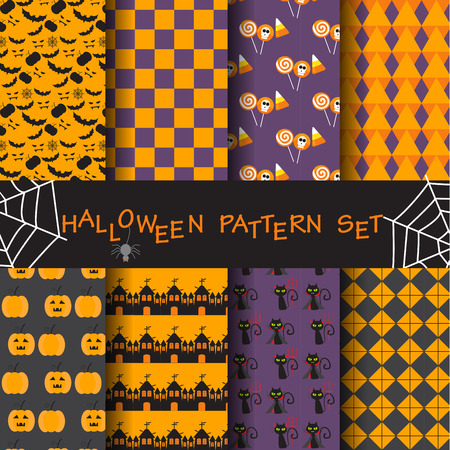10 different halloween vector patterns. Endless texture can be used for wallpaper, pattern fills, web page,background,surface Illustration