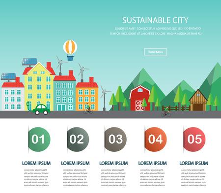 環境、エコロジー インフォ グラフィック要素。 大都会と田舎の風景。背景、レイアウト、バナー、図、1 ページの web デザイン、パンフレットのテ
