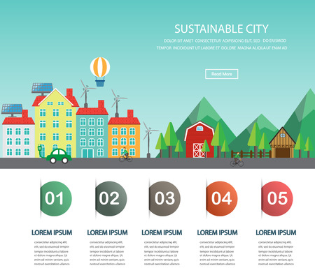 Environment, ecology infographic elements.  big city and countryside landscape. Can be used for background, layout, banner, diagram, one page web design, brochure template. Vector illustration Stock Illustratie