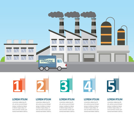 manufacturing: factory industrial management background and  infographics elements. Can be used for business data, web design, brochure template. one page design. vector illustration