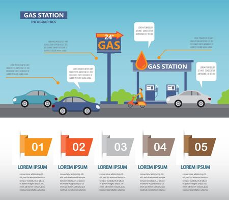 gas station infographics elements and backround. Can be used for business data, web design, brochure template. one page design. vector illustration
