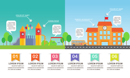 children playground: different  between playground and school background. infographics element. kid and children concept. Can be used for one web page design, brochure template, banner. Vector illustration