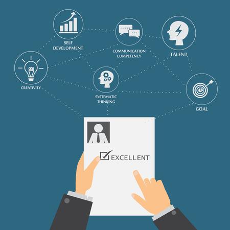 entrevista: de recursos humanos o gestión de recursos humanos elemento de infografía y el fondo. proceso de contratación. Puede ser utilizado para la estadística, los datos de negocio, diseño web, gráfico de información, plantilla de folleto. ilustración vectorial