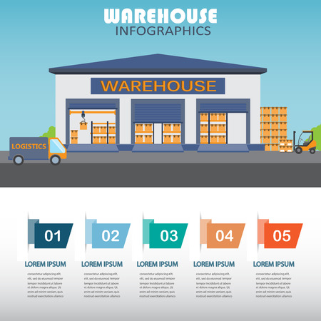 warehouse storage: warehouse, cargo, logistic business management infographics background and elements. Can be used for business data, web design, brochure template. vector illustration Stock Photo